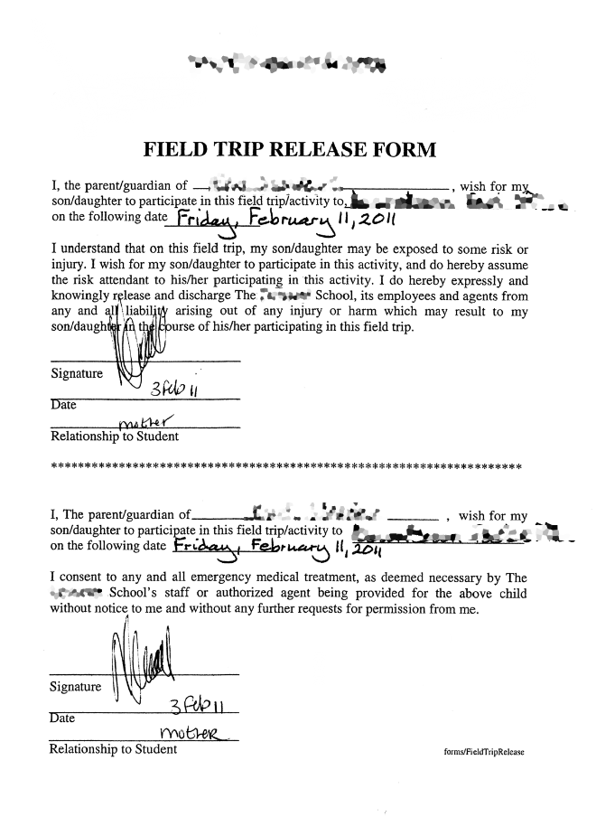 Field ...  Permission Slip Template Word